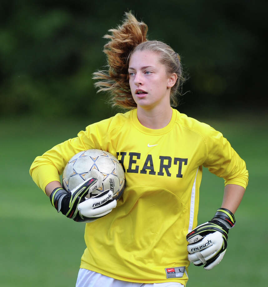 Convent goalie Charlie Clark  during the girls high school soccer match between Greenwich Academy and Convent of the Sacred Heart at Greenwich Academy, Sept. 25, 2013. Photo: Bob Luckey / Greenwich Time