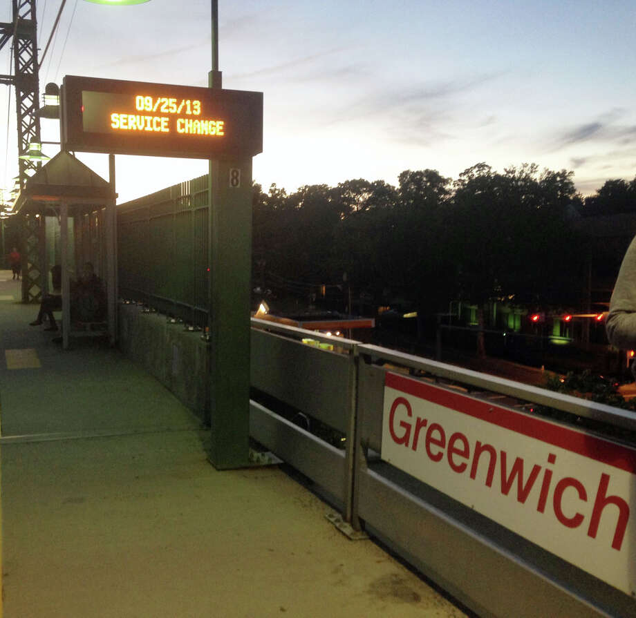 A sign at the Greenwich Train Station notified waiting riders of trouble Wednesday evening. Photo: Greenwich Time