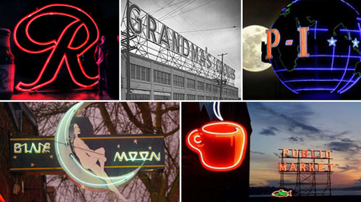 """They're not much to look at by day. But by night, they light up the sky and welcome you home. Around for decades and key to the landscape, they're Seattle's classic neon signs. With the welcomed return of Rainier Beer's """"R"""" to the skyline, here's our take for the best neon signs in Seattle. Some are long gone and others no longer glow, but all are iconically Seattle. After you see how many signs you recognize, check out the slideshow below for more details on the return of the Rainier Beer """"R."""""""