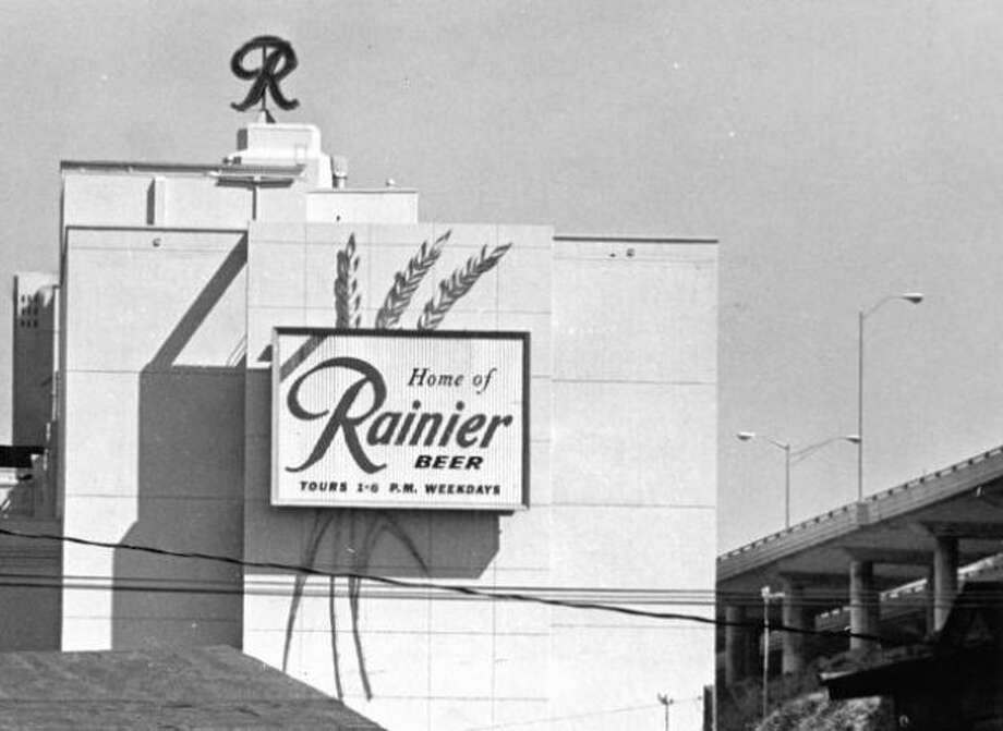 "The neon, red Rainier ""R"" sat atop the Rainier brewery in Georgetown for nearly 50 years. Pictured in 1971, it was one of Seattle's most recognizable cultural icons. Photo: P-I File"