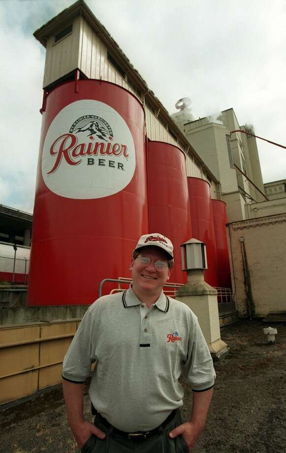 "A look at Rainier Beer's old holding tanks on Airport Way South in 1998, with ""master brewer"" Joe Thorner in the foreground. Photo: ROBIN LAYTON, P-I File"