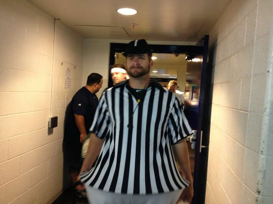 Stephen Vogt as a referee. Photo: Susan Slusser, The Chronicle