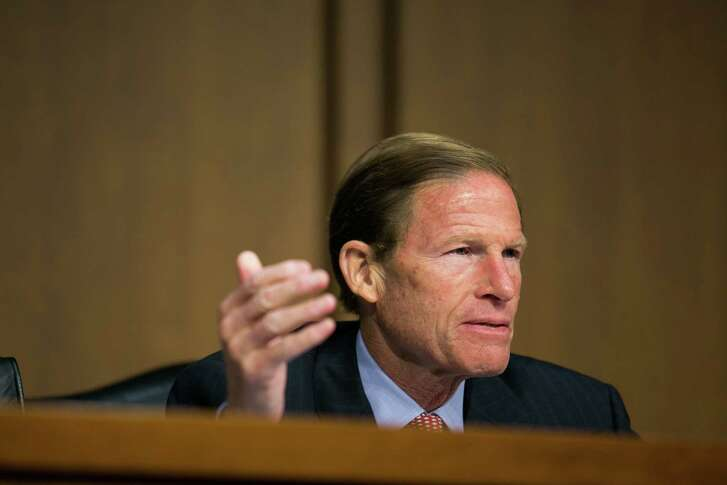 "WASHINGTON, DC - SEPTEMBER 10:  U.S. Sen. Richard Blumenthal (D-CT) questions witnesses during a Senate Judiciary Committee hearing on ""Conflicts between State and Federal Marijuana Laws,"" on Capitol Hill, September 10, 2013 in Washington, DC. The hearing focused on conflicts between state and federal marijuana laws. (Photo by Drew Angerer/Getty Images)"