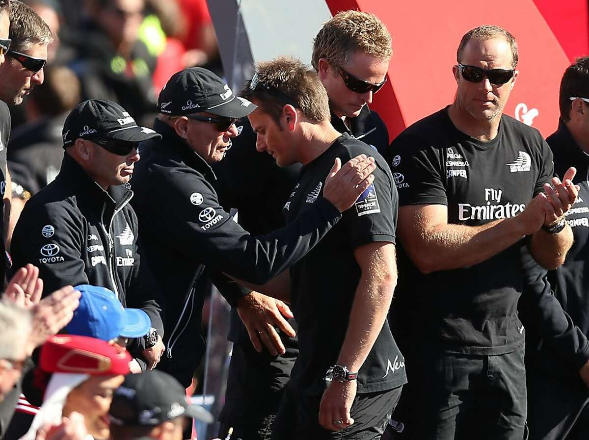SAN FRANCISCO, CA - SEPTEMBER 25: Emirates Team New Zealand skipper Dean Barker looks on with managing director Grant Dalton after losing to Oracle Team USA skippered by James Spithill during the final race of the America's Cup Finals on September 25, 2013 in San Francisco, California. (Photo by Jed Jacobsohn/Getty Images)