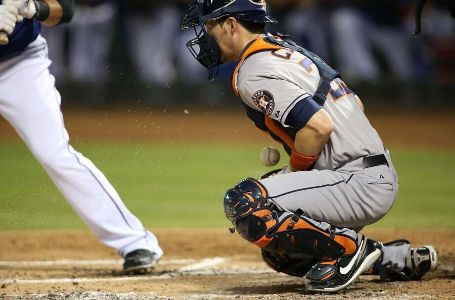 Cody Clark #39 of the Astros recovers a pitch thrown short. Photo: Rick Yeatts, Getty Images