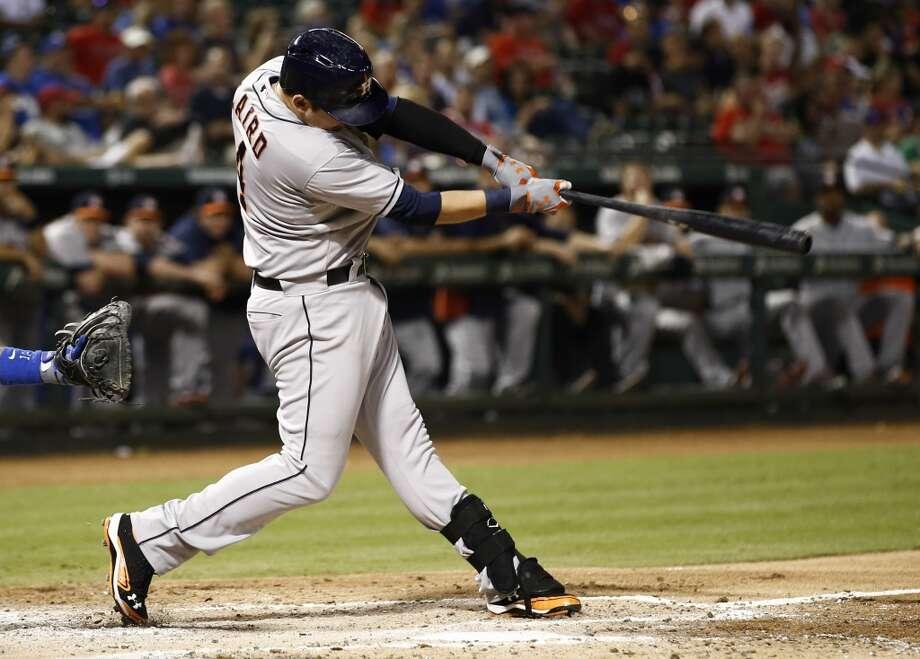Brandon Laird follows through on a two run home run. Photo: Jim Cowsert, Associated Press