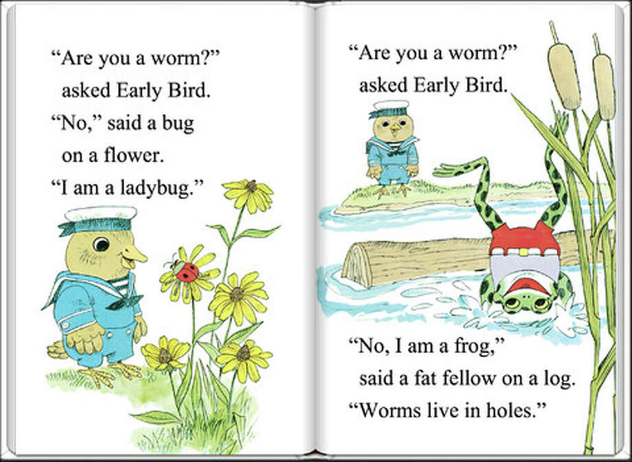 Lowly Worm Meets the Early Bird: Early Bird goes searching for a worm in this sweet book written and illustrated by Richard Scary. Early Bird makes lots of friends, from a frog to a mouse, during his search—and he eventually meets Lowly Worm.
