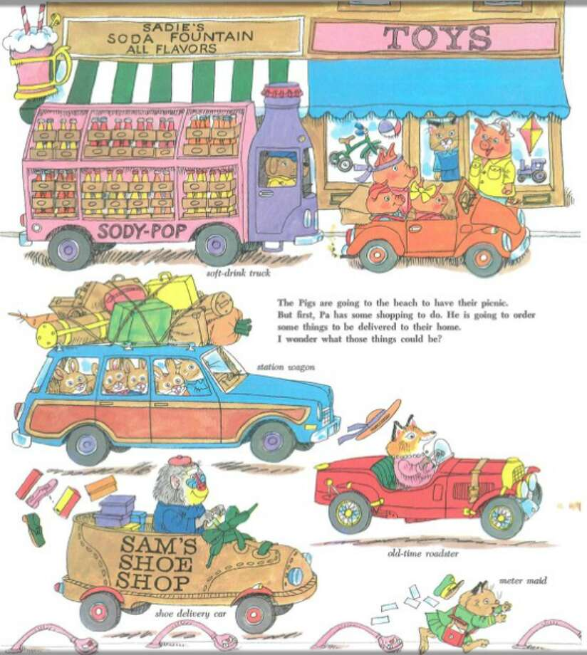 Cars and Trucks and Things that Go: The station wagon, the tow truck, the garbage truck and the pickle car. Every manner of machinery that moves is depicted with humor in this Richard Scarry classic.