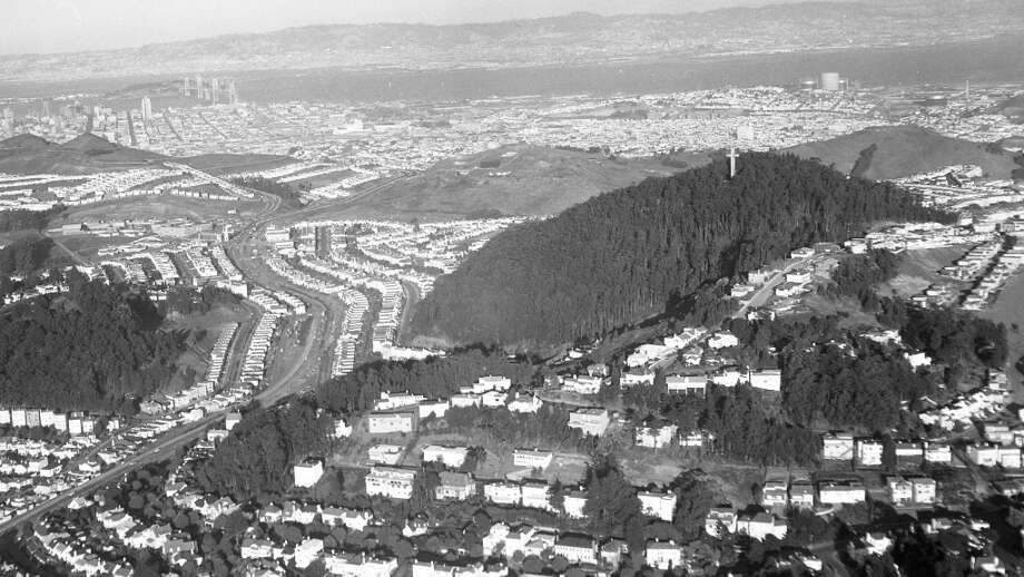 Nov. 11, 1958: Mt. Davidson, with a less populated West Portal and St. Francis Wood in the foreground. Chronicle aerial photos were common in the 1950s -- two staff photographers were pilots. Photo: Duke Downey, The Chronicle
