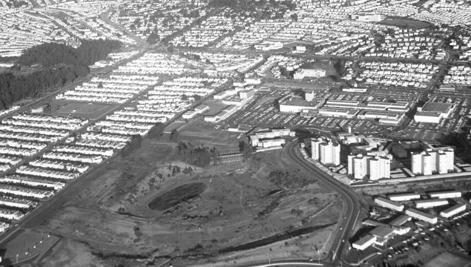 The newly built Stonestown Galleria (then an outdoor mall), and the construction zone for Lowell High school -- which moved to the neighborhood in 1963. Stern Grove and SF State are also visible. Photo: Duke Downey, The Chronicle