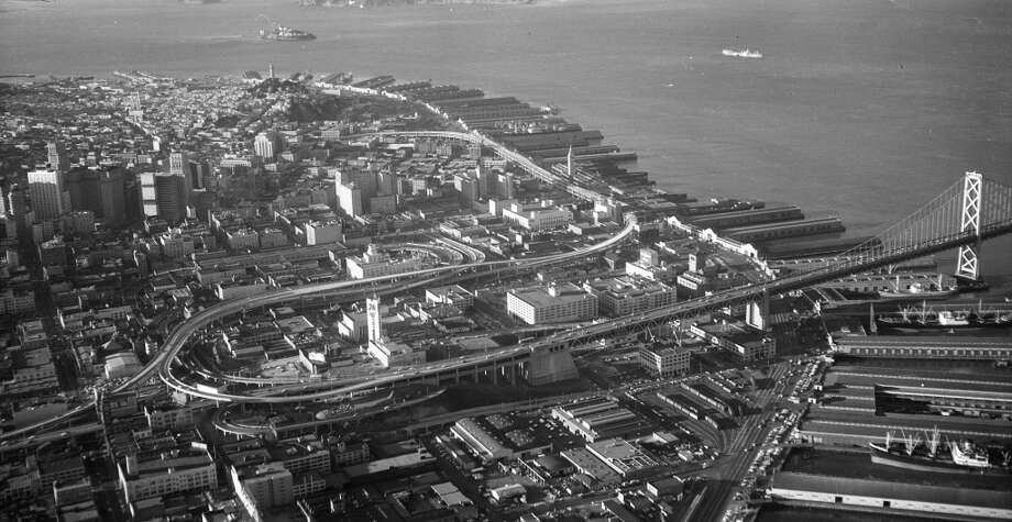 Note the absence of the Embarcadero Center, and other towers near the Ferry Building. I'm guessing it was possible to see Coit Tower from the elevated approach heading eastbound to the Bay Bridge. Photo: Duke Downey, The Chronicle