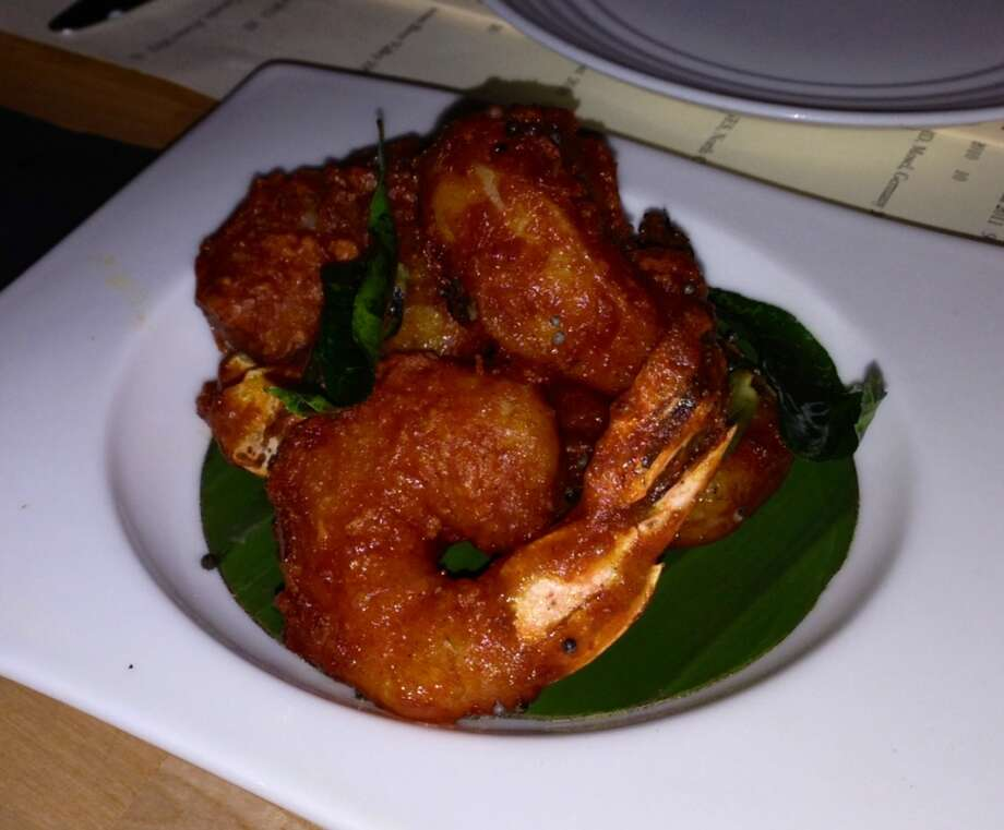 Spicy shrimp with red chiles ($10.95)