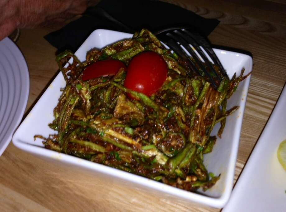 Fried okra with fennel and dry mango powder ($12/$6)