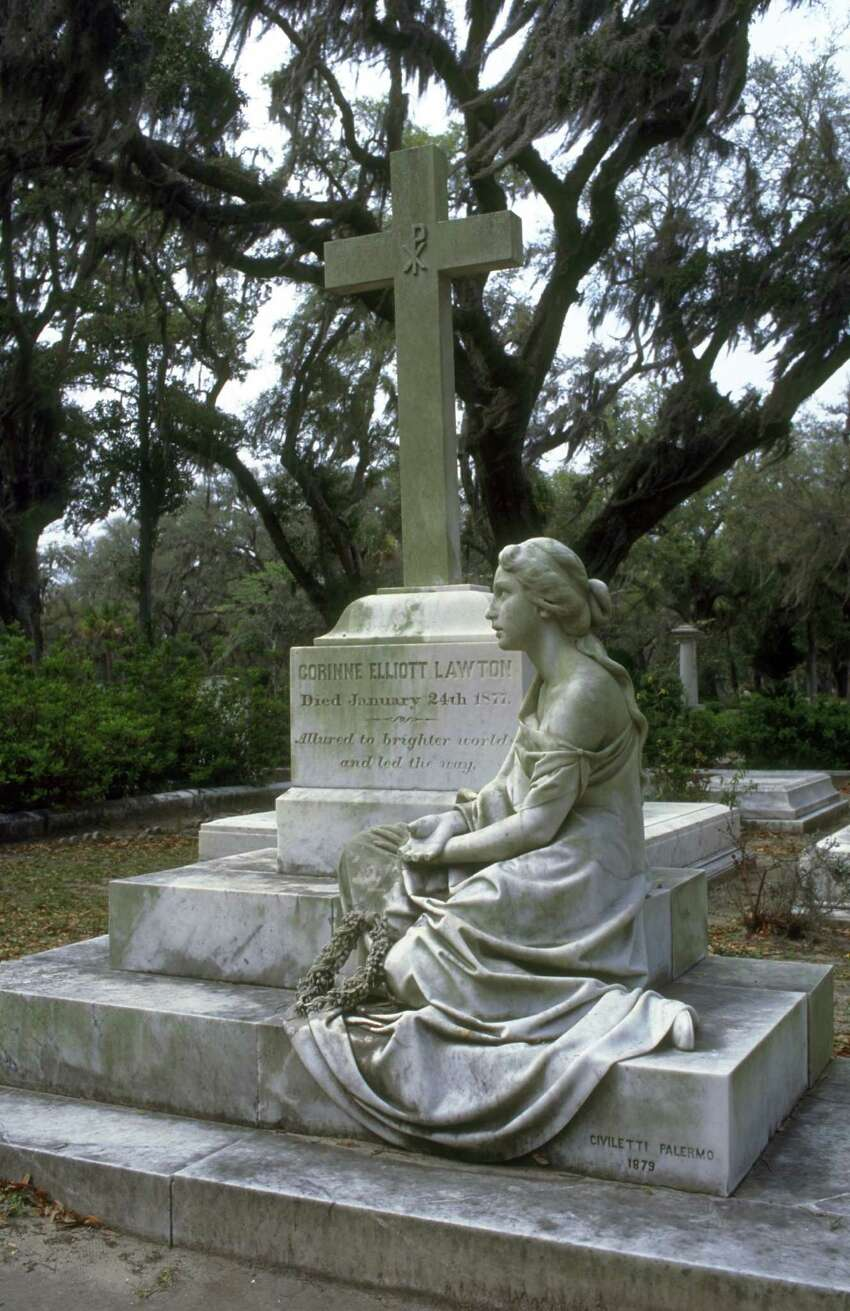 This undated file photo from the Savannah Convention and Visitors Bureau shows the Bonaventure Cemetery in Savannah, Ga. The cemetery, known for its spooky but romantic statues, memorials and more of those live oaks draping gravesites with Spanish moss, was also featured in