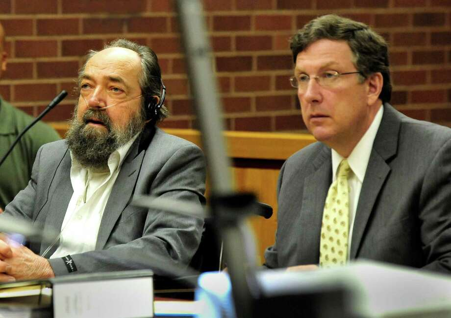 John Heath, left, sits with his attorney Frank O'Reilly on the first day of his murder trial in Danbury Superior Courthouse, in Conn. Thursday, Sept. 26, 2013. Photo: Michael Duffy / The News-Times