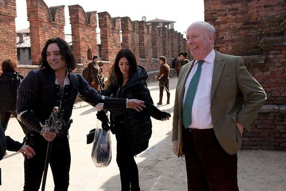 "Screenwriter Julian Fellowes (right) visits the set of Shakespeare's ""Romeo and Juliet"" in Italy. Photo: Relativity Media"