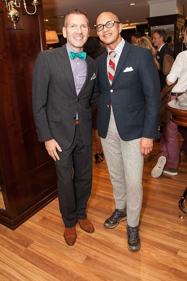 Eric Petsinger and Troy Anicete attend the Brooks Brothers San Francisco Fall Antiques show on Tuesday, Sept. 24. Photo: Drew Altizer Photography/SFWIRE, Tara Luz Stevens For Drew Altize