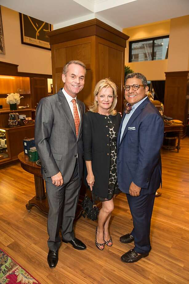 Peter Mueller, Alison Carlson and Riccardo Benevides attend the Brooks Brothers San Francisco Fall Antiques show on Tuesday, Sept. 24. Photo: Drew Altizer Photography/SFWIRE, Drew Altizer For Drew Altizer Ph