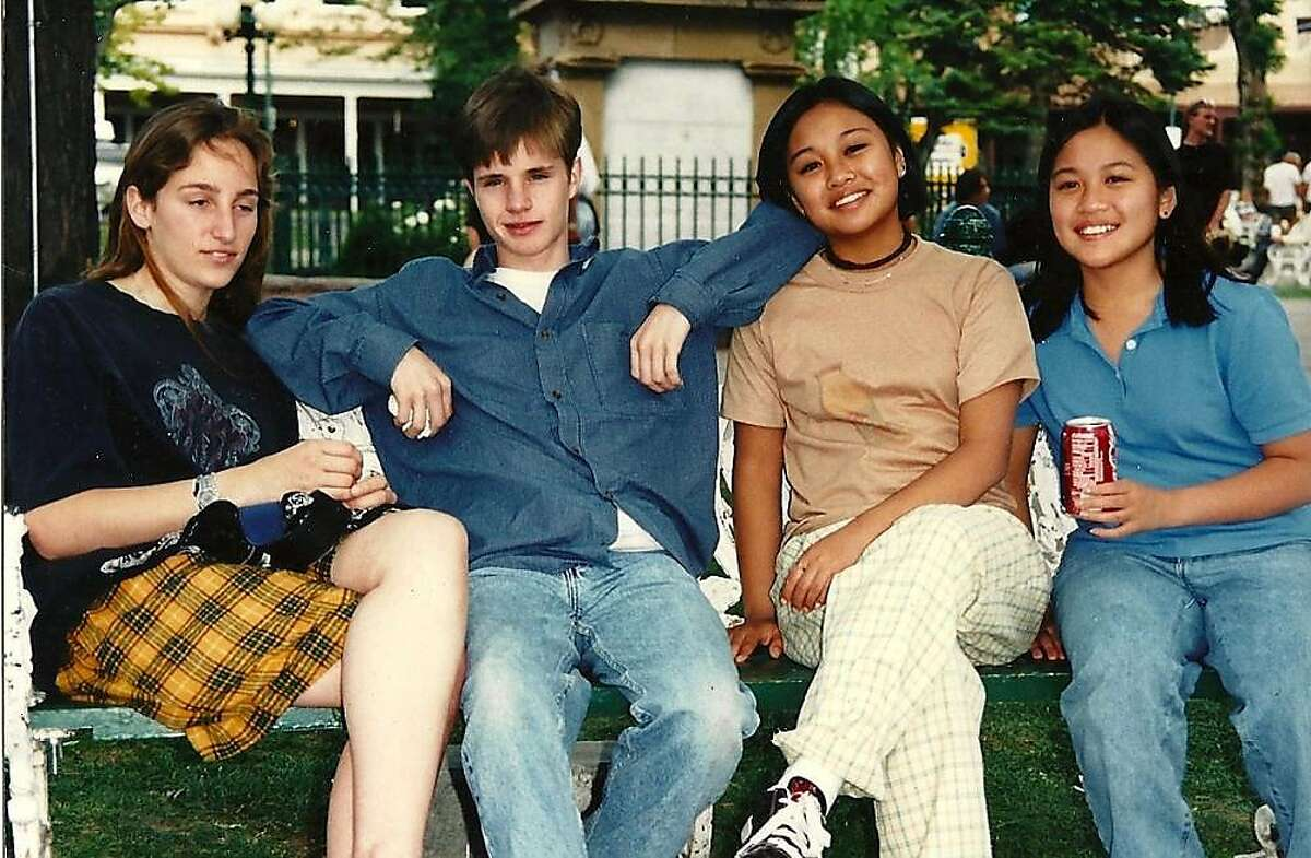 Matthew Shepard (second from left) and filmmaker Michele Josue (second from right) in a photo featured in Josue's documentary