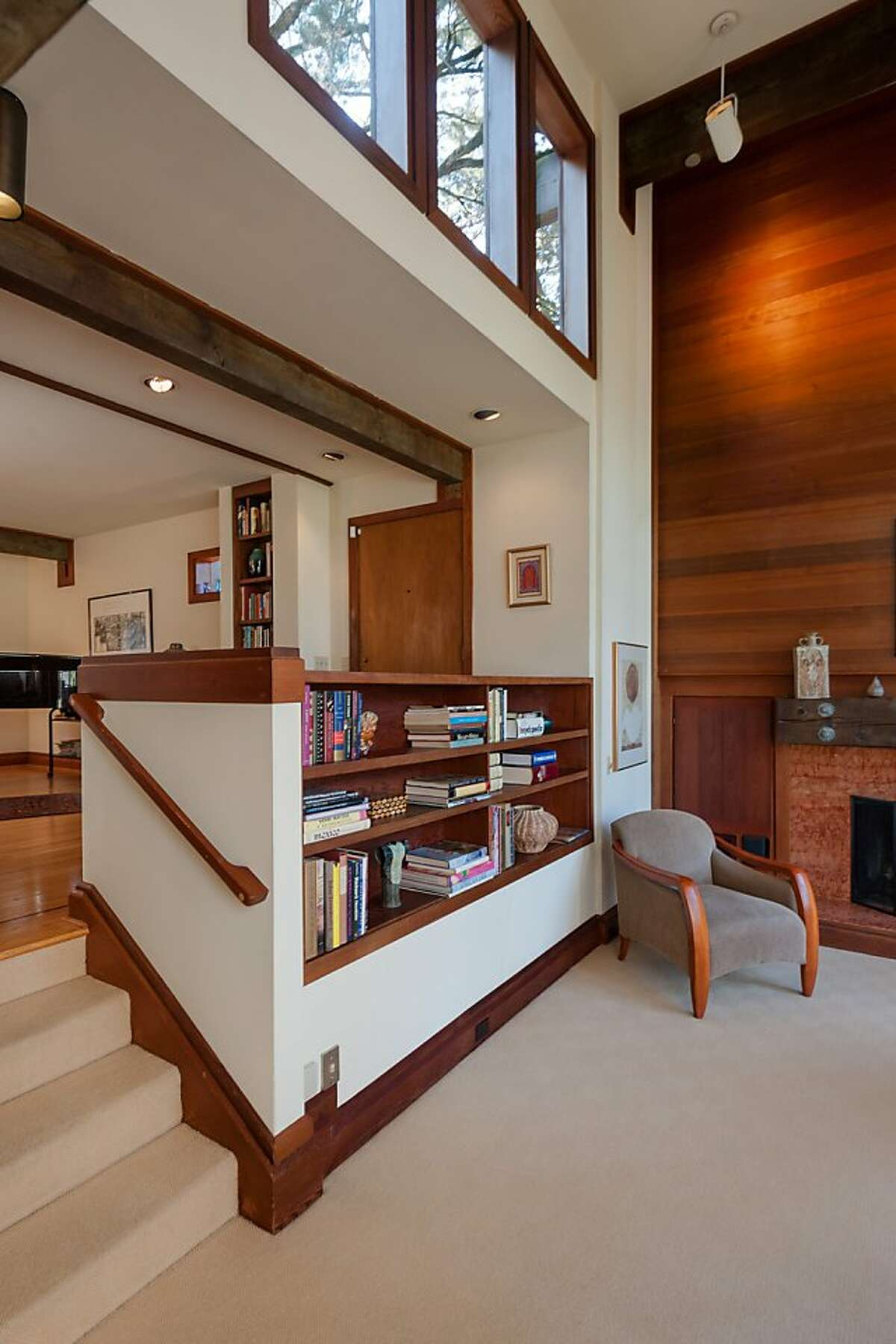 The four-bedroom home is technically two stories, but actually features eight living levels because of its innovative construction.