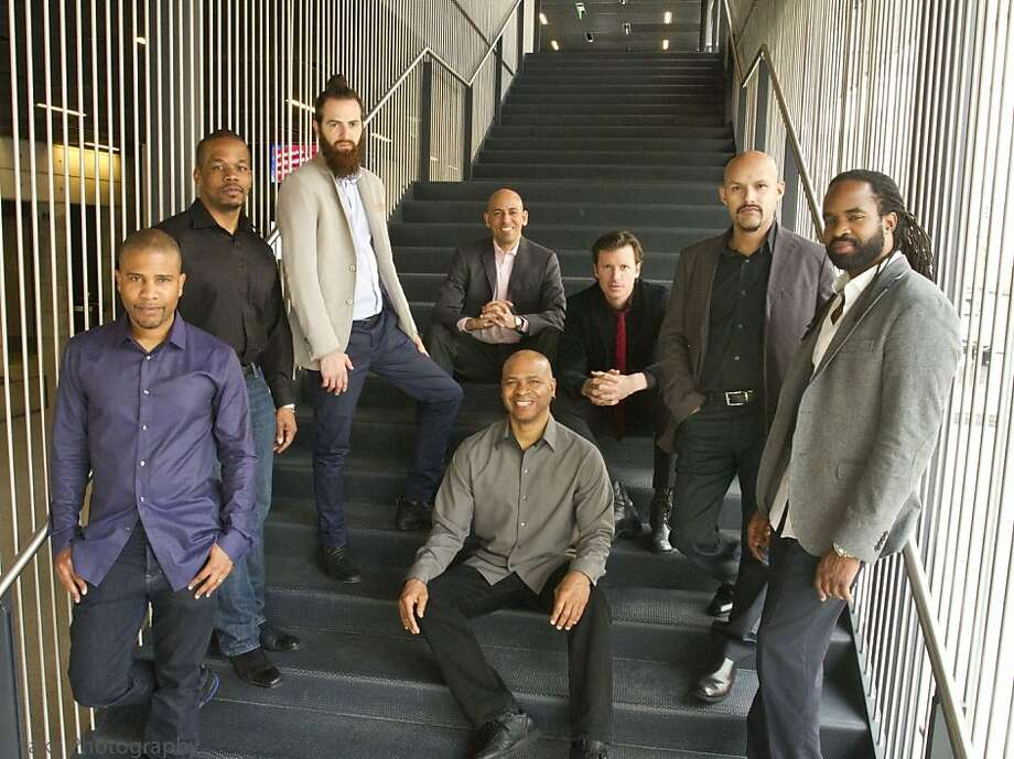 The SFJazz Collective - consisting of David Sánchez (left), Warren Wolf, Avishai Cohen, Edward Simon, Robin Eubanks, Matt Penman, Miguel Zenón and Obed Calvaire - is a truly international ensemble. Photo: Jamie Tanaka