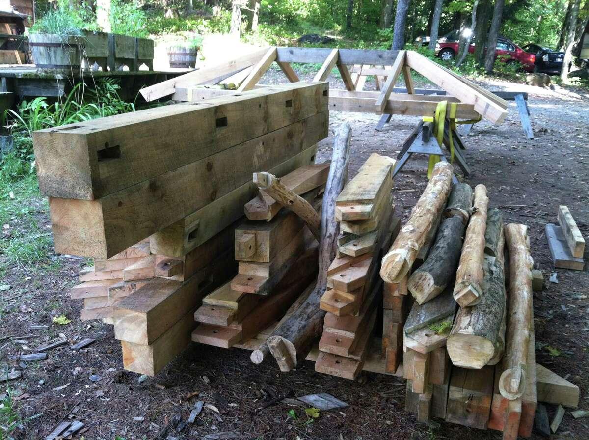 Wood cut for projects at the Heartwood School. (Scott Waldman/Times Union)