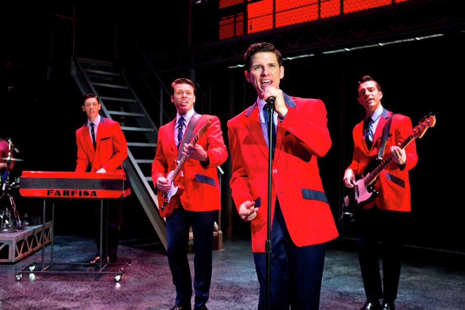 "The touring company of the best musical Tony winner ""Jersey Boys"" is playing eight performances at the Palace Theater in Waterbury starting Wednesday, Oct. 9. The cast includes (left to right) Jason Kappus, Nicolas Dromard, Nick Cosgrove and Brandon Andrus. Photo: Contributed Photo"