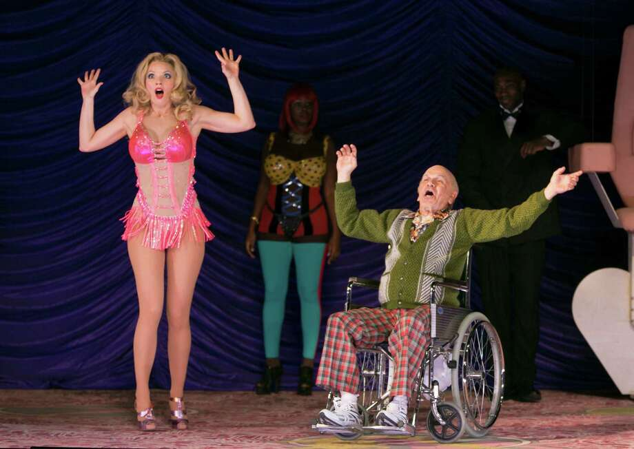 "Sarah Joy Miller, as Anna Nicole Smith, and Robert Brubaker, as J. Howard Marshall II, perform in ""Anna Nicole,"" at the Brooklyn Academy of Music in New York, Sept. 15, 2013. The New York City Opera, which faces financial distress, began its season Sept. 17 with the U.S.  premiere of Mark-Anthony Turnagea€™s story about Smith. (Sara Krulwich/The New York Times) ORG XMIT: XNYT100 Photo: SARA KRULWICH / NYTNS"