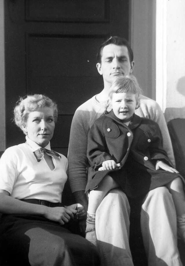Carolyn Cassady with her daughter Cathy Cassady on the lap of Jack Kerouac. Al Hinkle/ the Cassady Family.