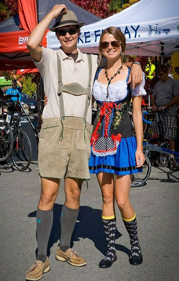 Reed Mayfield and Allison Snopek get in the spirit, and the costume, of Fairfax's annual Biketoberfest event, which includes beer tasting, music and activities for the whole family. Photo: Eric Harger