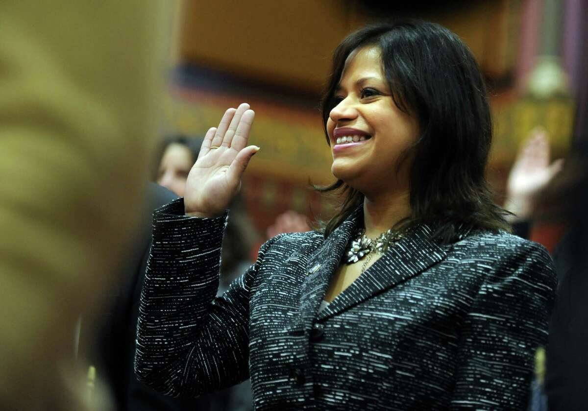 State Rep. Christina Ayala (D-Bridgeport) is sworn in Jan. 9, 2013 during opening day of the State Legislature at the Capitol Building in Hartford, Conn.