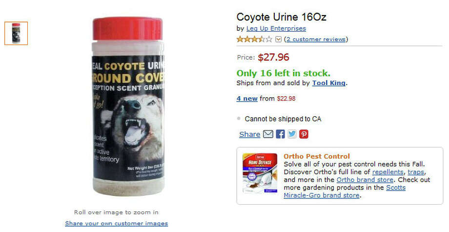 At first glance, coyote urine may seem like a novelty product. But it's apparently good for keeping deer, rabbits and other pests out of your garden. Photo: Amazon