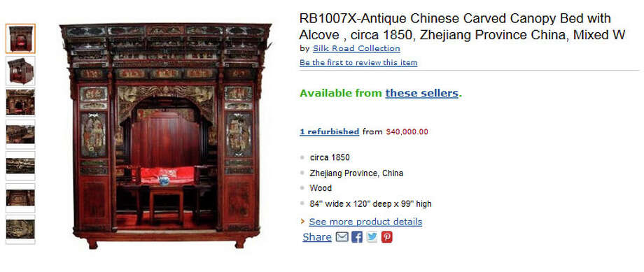Speaking of beds, wouldn't you sleep better in a $40,000 19th-century Chinese canopy bed? Me neither. Photo: Amazon