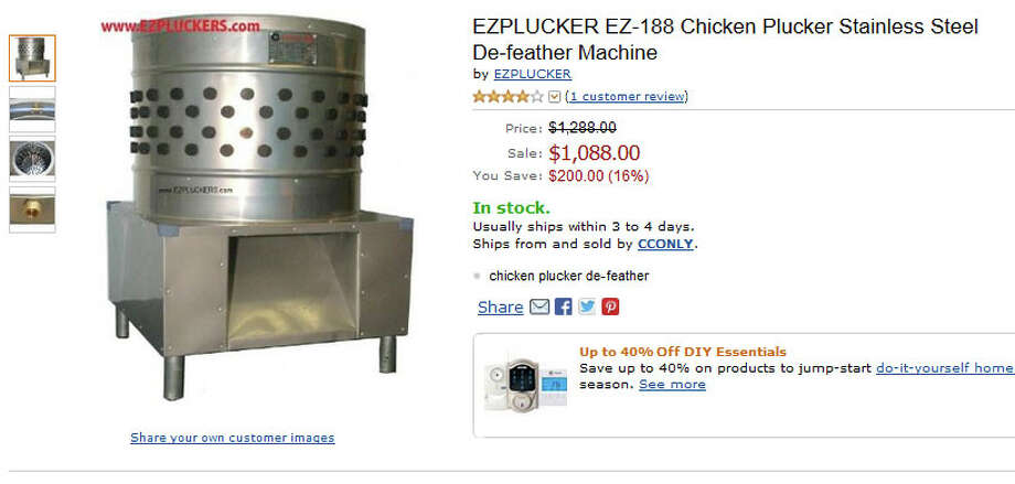 Finally, looking at this chicken de-feather machine, we can just imagine freshly plucked birds flying out of the chute, ready for roasting. Photo: Amazon