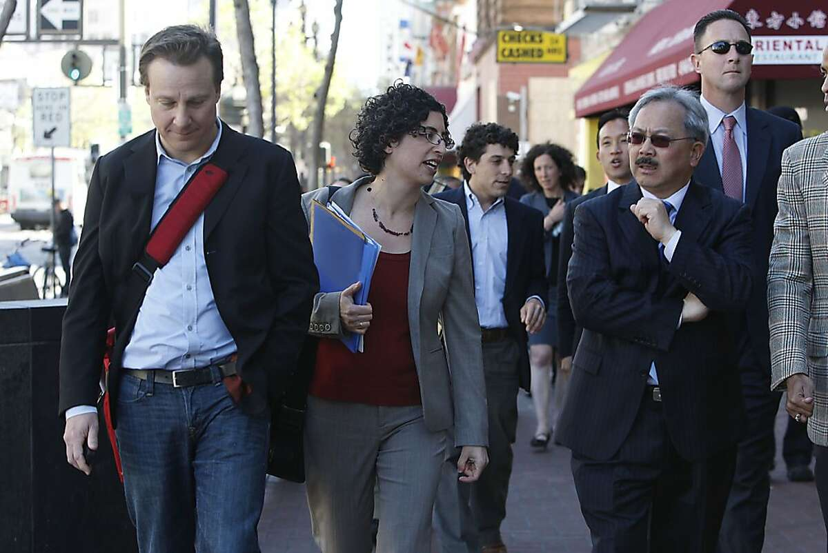 Sean Garrett (left) of Twitter, is given a tour of the central Market St. area with mayor Ed Lee in San Francisco, Calif., on Wednesday, April 6, 2011.