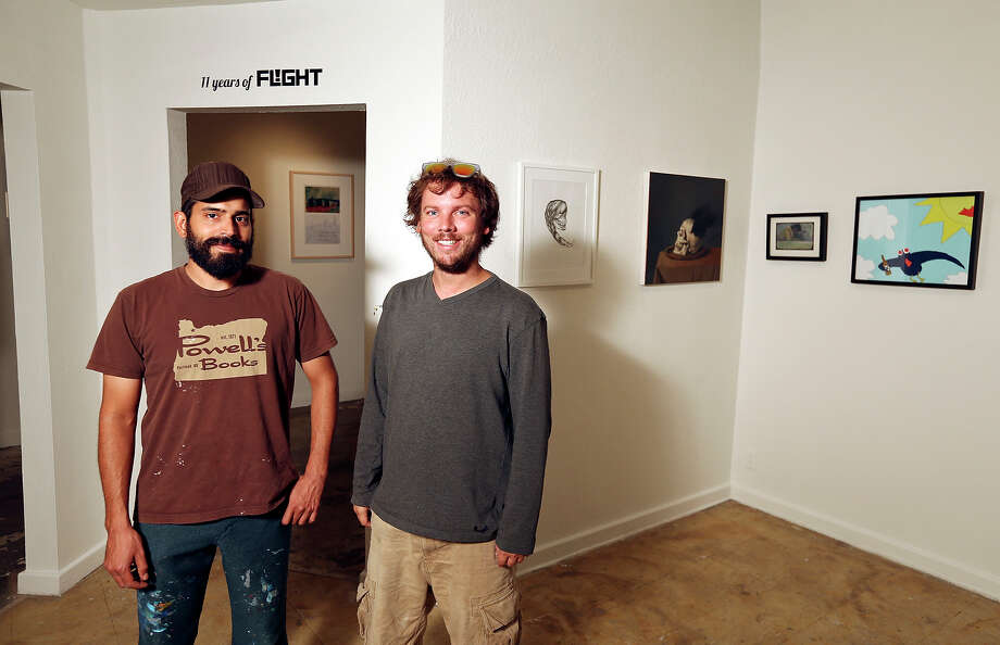 "Fl!ght Gallery's Ed Saavedra (left) and Justin Parr are marking the gallery's 11th anniversary with ""Itch,"" a group exhibition. Photo: Photos By Edward A. Ornelas, San Antonio Express-News / © 2013San Antonio Express-News"