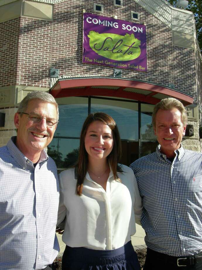 Pat Hanlon (from left), Kasey Hanlon and Tom McCarthy will open Salata at Huebner Oaks in mid-October.