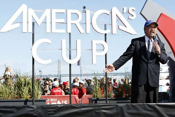 Mayor Ed Lee speaks during the trophy ceremony after Oracle Team USA won the 34th America's Cup on Wednesday, September 25, 2013 in San Francisco, Calif.