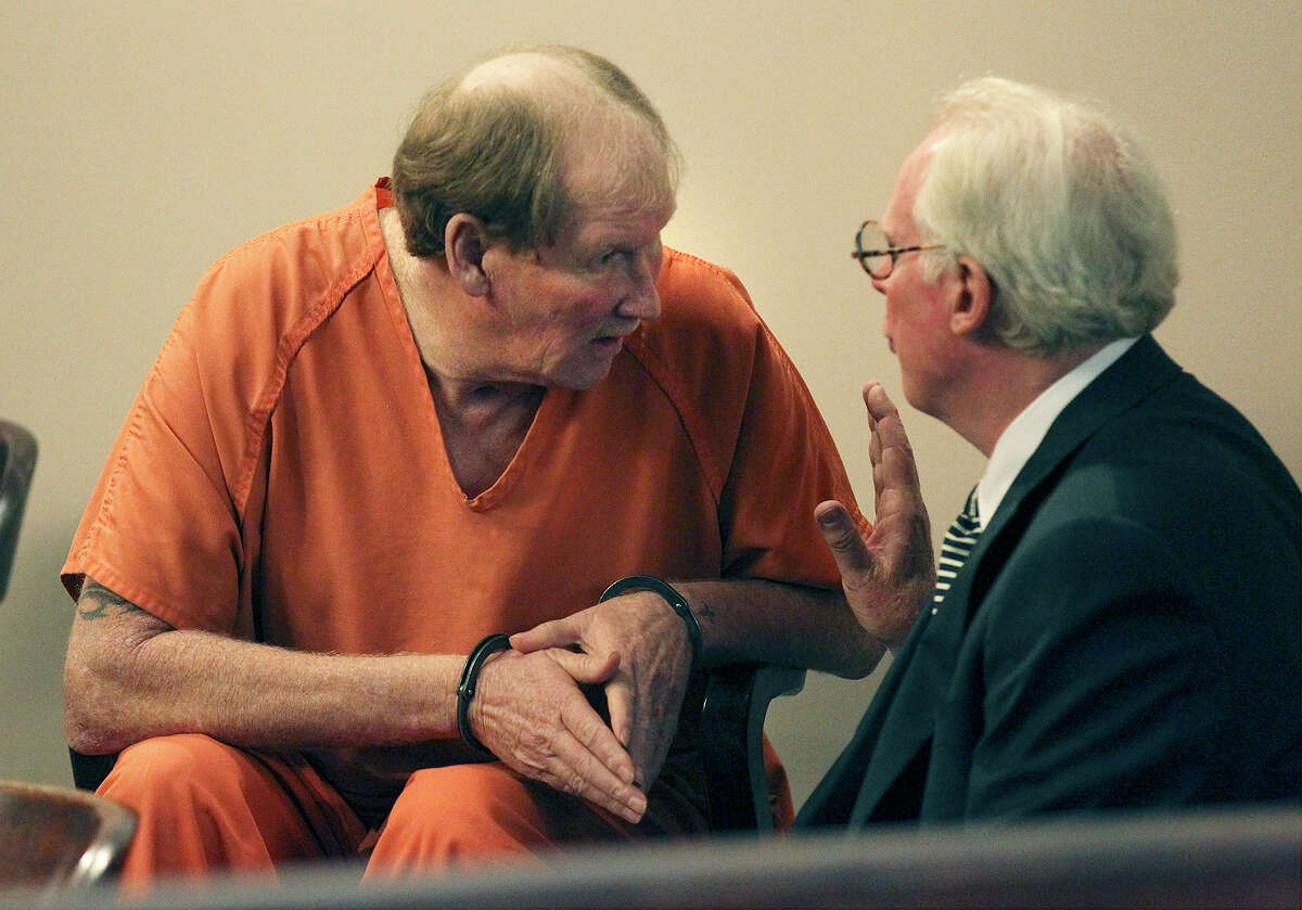 Donald Huff (left) talks with his attorney Ronald Guyer before Judge Sid Harle in the 226th State District Court sentenced Huff to 45 years in prison for felony murder in the August 2009 death of his girlfriend Arlene Harding-Watts while driving intoxicated on a motorcycle.