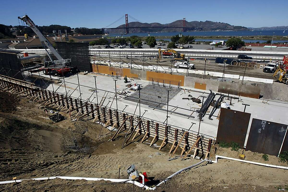 Construction continues on the Doyle Drive tunnels which will now, thanks to a gift donation, will have a green space that connects the Main Post Parade Grounds with Crissy Field in San Francisco on Thursday. Sept. 26, 2013.