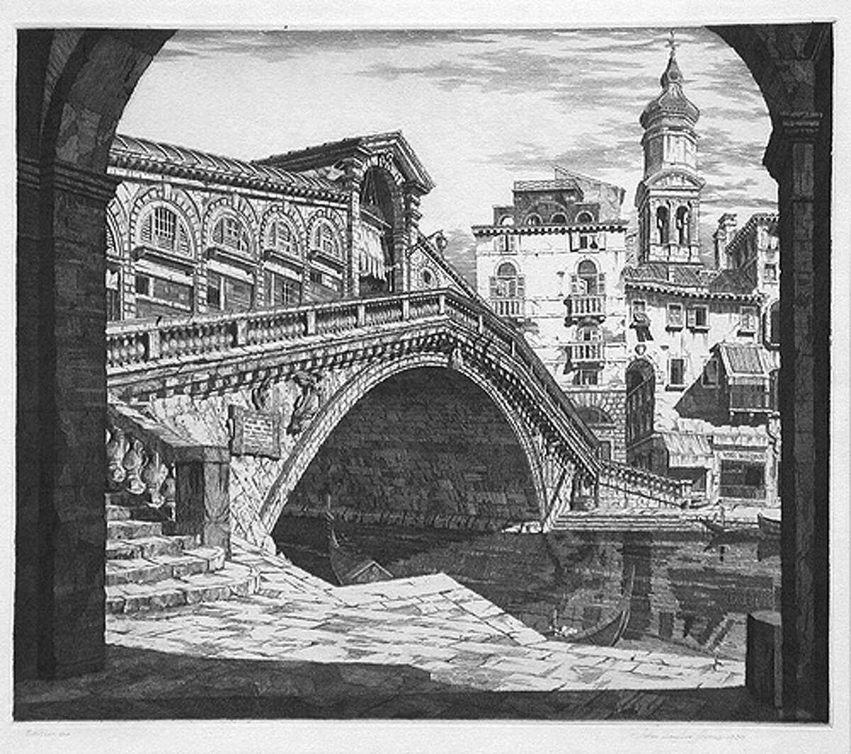 """""""Shadows of Venice"""" is an example of the architectural etchings of John Taylor Arms."""