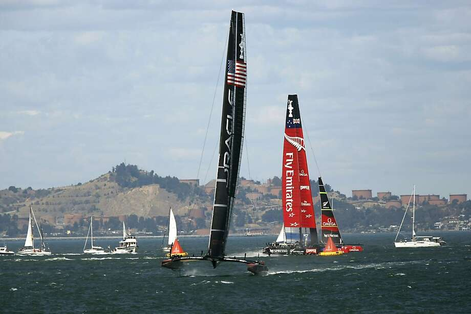 Team USA began its turnaround against Team New Zealand with changes to its catamaran Sept. 13. Photo: Michael Short, The Chronicle