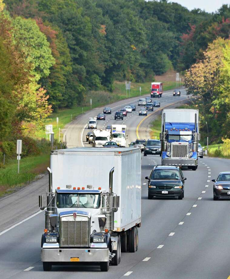 Southbound truck traffic on I-87 Thursday, Sept. 26, 2013, in Clifton Park, N.Y.  (John Carl D'Annibale / Times Union) Photo: John Carl D'Annibale