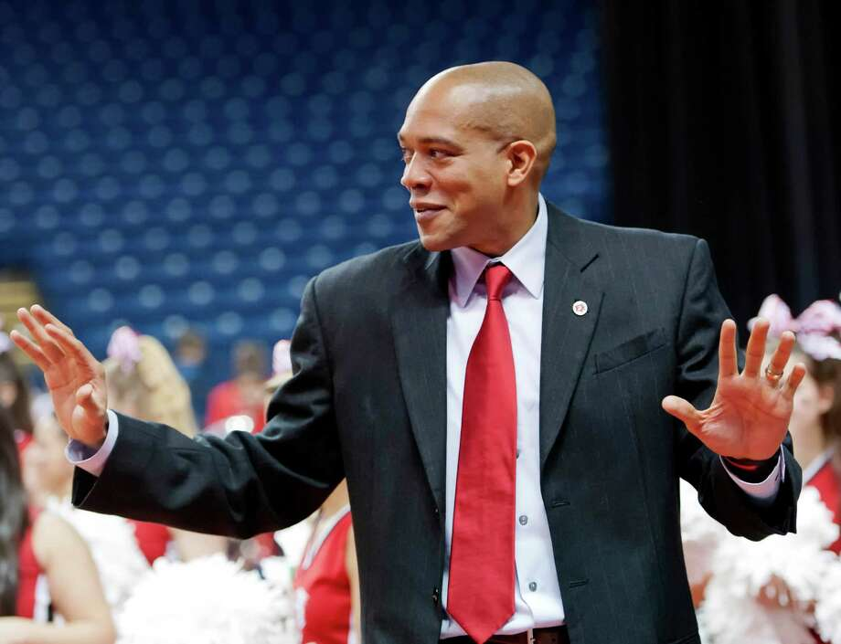 Fairfield University men's basketball head coach Sydney Johnson during a game against Drexel University played at the Webster Bank Arena, Bridgeport, CT on Sunday December 16th, 2012. Photo: Mark Conrad / Connecticut Post Freelance