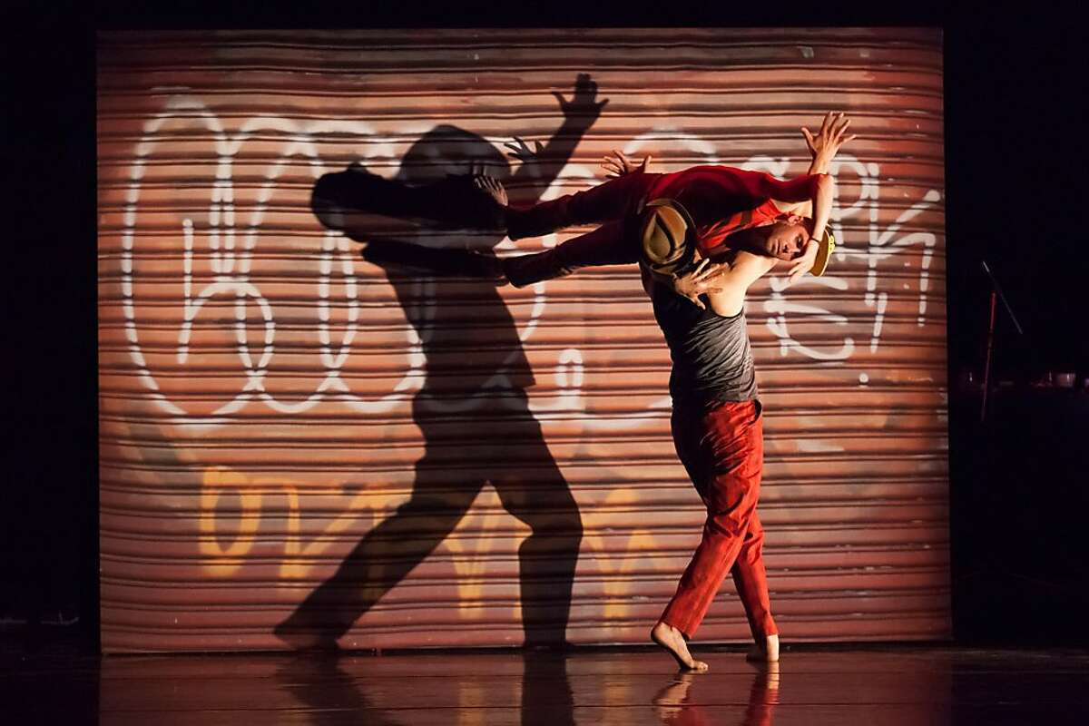Credits are: Filename:JoeGoode_302.jpg Andrew Ward (top) and Felipe Barrueto-Cabello (bottom) perform in Hush; photo by Margo Moritz