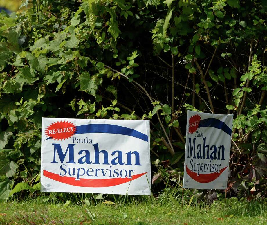 A sign for Town of Colonie Supervisor Paula Mahan on Route 9 Sept. 26, 2013, in Colonie, N.Y. (Skip Dickstein / Times Union) Photo: Skip Dickstein / 00024016A