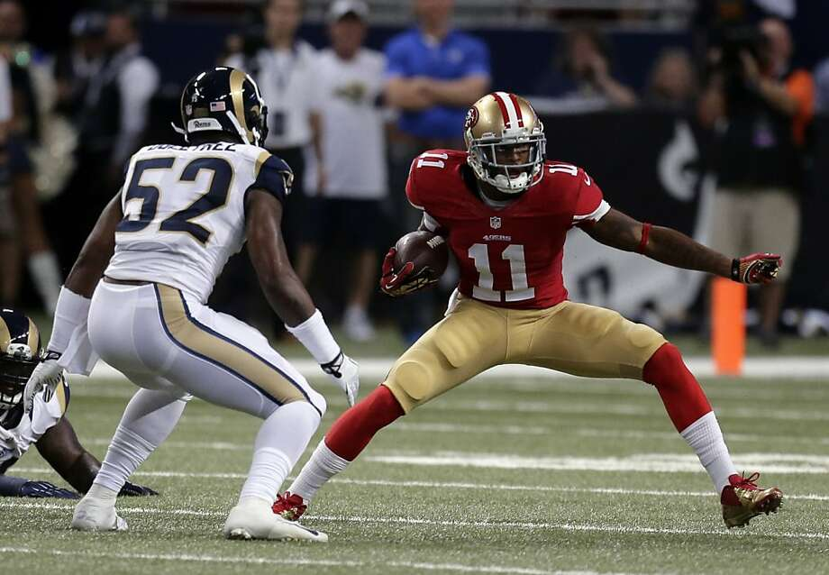 Quinton Patton, a fourth-round draft pick this year, had his first NFL catch Thursday night before he broke his foot in the first quarter in St. Louis. Photo: Charlie Riedel, Associated Press