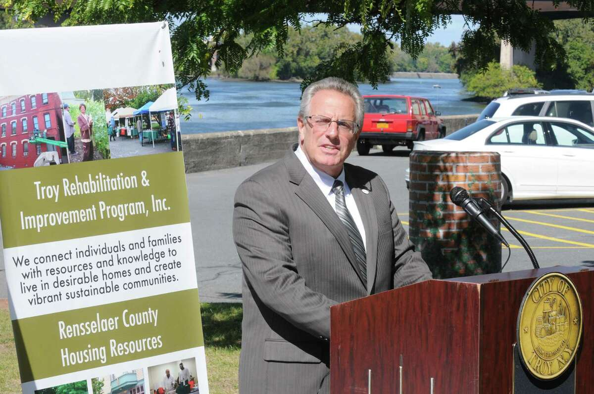 Troy Mayor Lou Rosamilia talks at a press conference kicking off the 2nd Annual Green Fair and the 1st Collar City (Pre)Ramble on Thursday Sept. 26, 2013 in Troy, N.Y. The Green Fair is an event that will help people recycle, dispose of and learn about the things we no longer need,want or use. Everything from electronics and metals to bikes and food scraps. The Collar City Pre(Ramble) is an event that will invite all bikers, walkers, wheelchairs, skaters, strollers, etc to join in exploring a near 10-mile path that cuts through the city, friendly to all the aforementioned travelers. It will end with a story telling event at Freedom Square(Michael P. Farrell/Times Union)