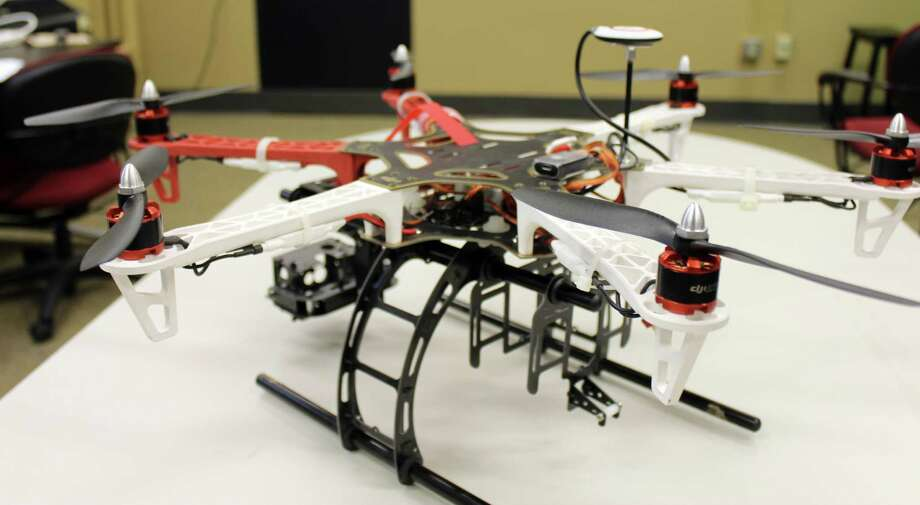 In this March 2012 photo provided by The University of Missouri, in Columbia, Mo., is a DJI 550 drone with an attached camera mount that the university says is probably the model it will file for permission to use. University officials say the Missouri journalism school plans to ask the Federal Aviation Administration for permission to resume using aerial drones for news-gathering purposes following an FAA order in July to stop flying the them outdoors until they obtain government authorization. Photo: AP