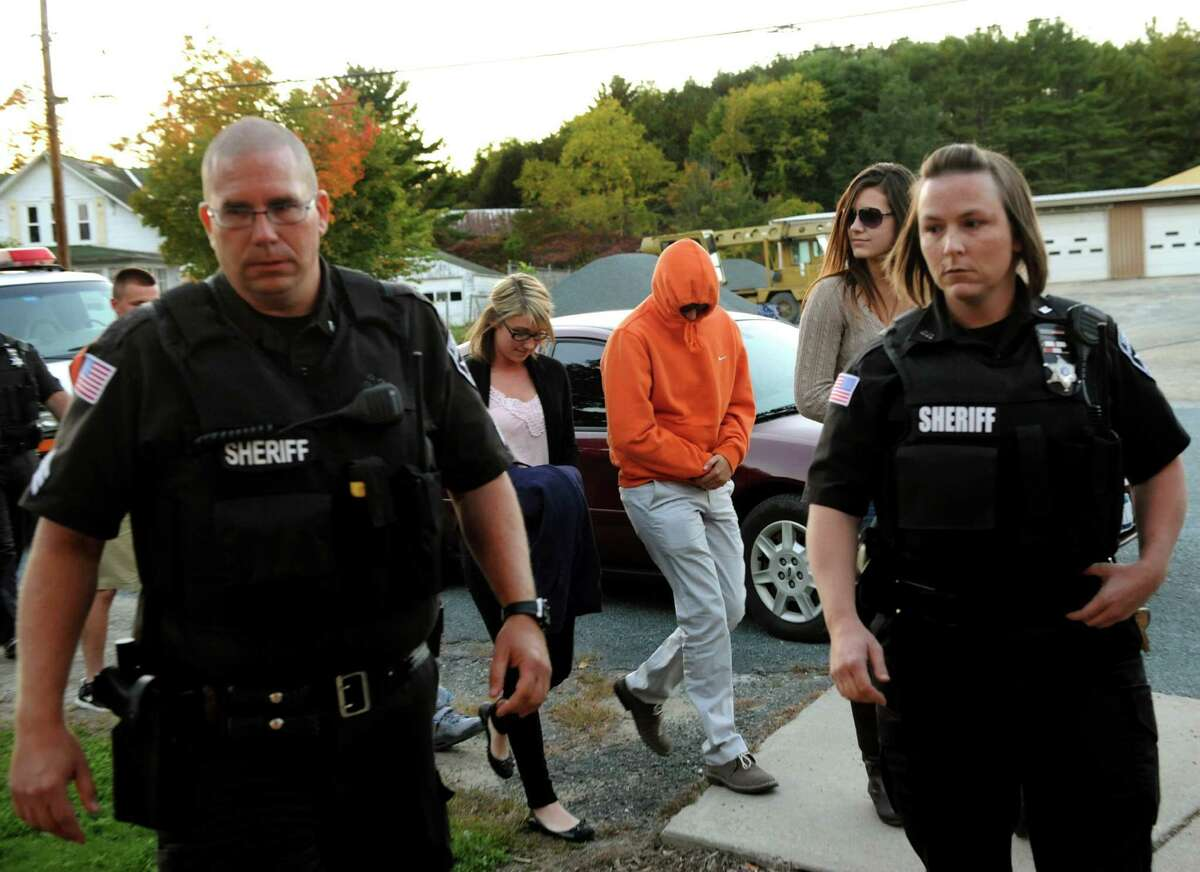 Rensselaer County Sheriffs lead young adults into the courtroom for arraignment on Thursday, Sept. 26, 2013, at Town of Stephentown Court in Stephentown, N.Y. (Cindy Schultz / Times Union)